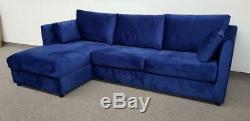 MADE. COM Milner LHF Corner Storage Sofa Bed in Regal Blue Velvet (081)