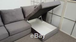 MADE. COM Milner RHF Corner Storage Sofa Bed Steel Grey Velvet (617)