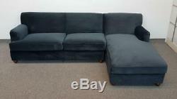 MADE. COM Orson RHF Chaise End Corner Sofa Bed Midnight Grey Velvet (598)