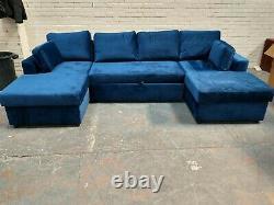 MADE. Com Aidian Large Corner Storage Sofa Bed in Regal Blue Velvet RRP £1499