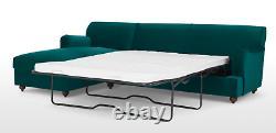 MADE Orson Seafoam Blue Velvet Corner Sofa Bed Ex Display RRP £1199
