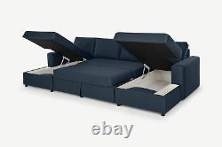 Made. Com Aidian Living Room Modern Blue Large Corner Sofa Bed RRP £1399