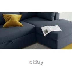Made. Com Aidian large corner sofa bed with storage in regal blue. 002