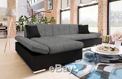 Malvi Leather & Fabric Corner L-shape Sofa + Bed + Storage ...