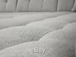 Malvi leather & fabric corner L-shape sofa + bed + storage, black grey white