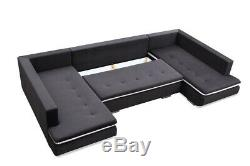 Massive U-shaped Sofa Bed Modern Big Storage Cushions Sleeping Function 367cm