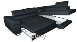 Miami L Shape Corner Sofa Bed +Storage Leather/Fabric Black, White/Grey/Cream