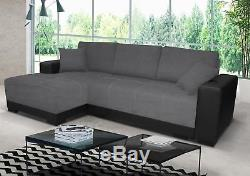 Milan Leather Linen Fabric Corner Sofa Bed with Storage Black / White Grey