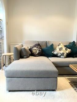 Milner Left Hand Facing Corner Storage Sofa Bed with Foam Mattress, Granite Grey