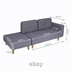 Modern 2 Seater Settee Corner Sofa Bed with Foostool Fabric Scandinavian Legs UK
