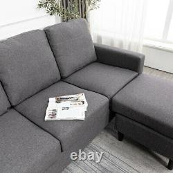 Modern 3 Seater L-Shape Fabric Corner Sofa Bed Armchair Padded Seat Settee Couch