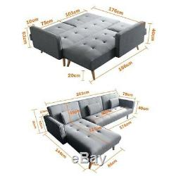 Modern 3 Seater L-Shape Fabric Corner Sofa Bed Armchair Recliner Sofabed Settee