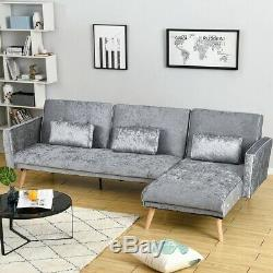 Modern 3 Seater L-Shape Fabric Corner Sofa Bed Recliner Armchair with Footstool