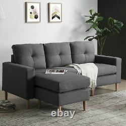 Modern 3 Seater Sofa L-Shape Fabric Corner Couch Bed Armchair Sofabed Settee
