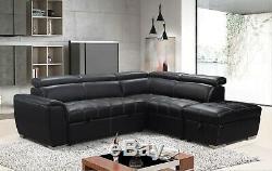 Modern Black Leather Corner Sofa Bed Adjustable Headrest Ottoman Footstool
