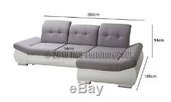 Modern Corner Sofa Bed JOZEF fabric with faux leather MODEL 2019
