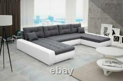 Modern Corner Sofa Bed LYSA Brand New Eco Leather or Fabric 3 Seater 4 Colours