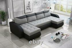 Modern Corner Sofa Bed PEDRO Brand New Quilted Fabric 3 Seater 4 Colours