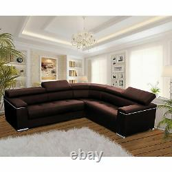 Modern Corner Sofa SILVA 1 Brown Faux Leather Storage Pull Out Bed RIGHT Corner