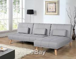 Modern Fabric Corner Sofa Bed Click Clack Recliner Couch Living Room Sofa Used