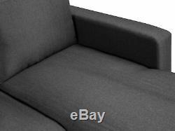 Modern Fabric Corner Sofa Bed Dark Grey Polyester U-Shaped Storage Sleeper Conve