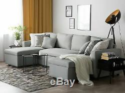 Modern Fabric Corner Sofa Bed Grey Polyester U-Shaped Storage Sleeper Convertibl
