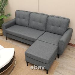 Modern Fabric Corner Sofa Bed Left&Right 3 Seater Storage Grey With Armrest UK