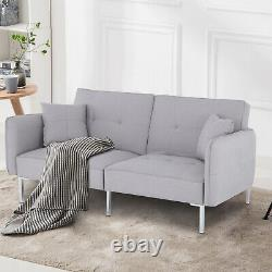 Modern Fabric Grey Sofa Bed 3 Seater Click Clack Living Room Recliner Couch Sofa