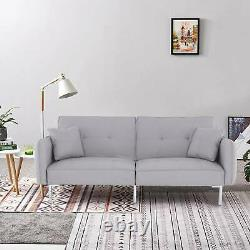 Modern Fabric Sofa Bed 3 Seater Click Clack Living Room Recliner Couch Sofa Grey
