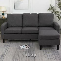 Modern L Shaped Corner Sofa Bed 1/2/3 Seater Linen Fabric Armchair Couch Grey