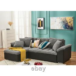 Modern L-shape Corner Sofa Bed with Storage Fabric+Leather Recliner Chaise Couch