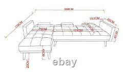 Modern L shaped Corner Sofa Grey Fabric 4 Seater Sofa Bed Couch with Footstool