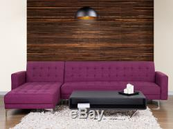 Modern Right Hand Fabric Corner Sofa Bed Purple Convertible Reclining Tufted Abe