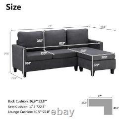 Modern Sofa Left & Right Hand Side 3 Seater Corner Sofa Longue Combination Bed