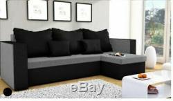 Modern design''L'' shaped compact sofa bed/Corner sofa''BABYLON'' Grey& Black