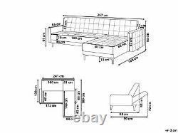 Modular L-Shaped Sofa Bed Seat Section Corner Navy Blue Velvet Aberdeen