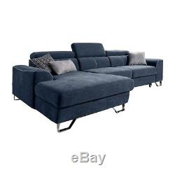 Msofas Blue 3 Seat Corner Sofa With Cushions Storage Bed Modern Home Furniture