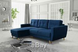 NAVY Corner Sofa Bed with Storage Fabric Scandinavian Style Left and Right