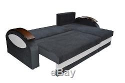 NEW Corner Sofa Bed with 2 Storages, Black and White soft Fabric