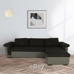 NEW Corner Sofa Bed with Storage, Black Fabric + Grey Leather. Very COMFORTABLE