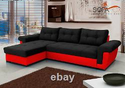 NEW Corner Sofa Bed with Storage, Black Fabric + Red Leather. UNIVERSAL CORNER