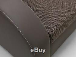 NEW Corner Sofa Bed with Storage, Brown Fabric + brow Leather. Very COMFORTABLE