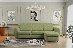 NEW Corner Sofa Bed with Storage, Light Grey Fabric. Beautiful Design CLEO