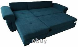 NEW Corner Sofa Bed with Storage. NAVY soft Fabric, UNIVERSAL, TOP Quality