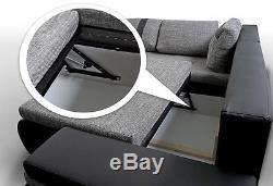 NEW FLAVIO LEATHER + FABRIC CORNER SOFA & BED + STORAGE in BLACK GREY WHITE GREY