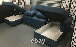 NEW HUGE! Made. Com Aidian blue Corner chaise storage sofa bed RRP £1400