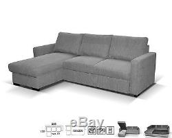NEW LARGE UNIVERSAL CORNER SOFA BED GREY FABRIC RIGHT or LEFT SIDE WITH STORAGE