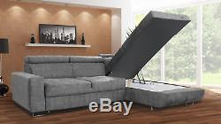 NEW Large Corner Sofa Bed with Storage Comfortable Big Fabric Sofa Modern Couch
