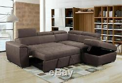 NEW Modern Large Brown Suede Corner Sofa Bed Cheap LEFT RIGHT Ottoman Storage