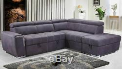 NEW Modern Large Grey Suede Corner Sofa Bed Cheap LEFT RIGHT Ottoman Storage